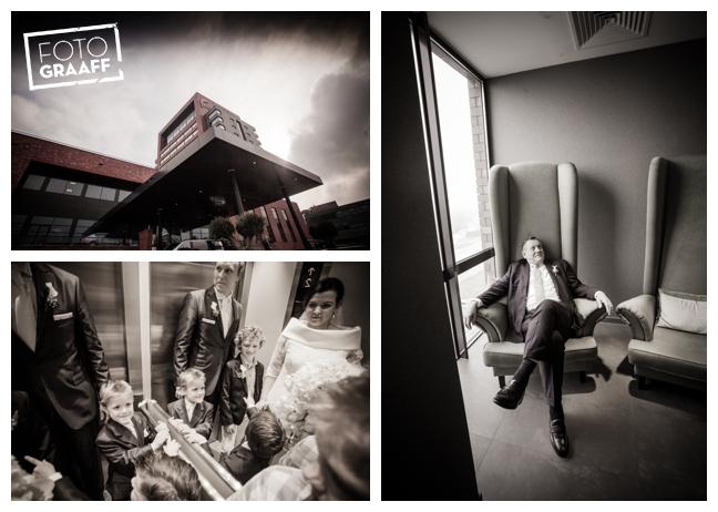 Bruidsfotografie in Dordrecht en feest In de skybar bij Hotel van der Valk Dordrecht_1079